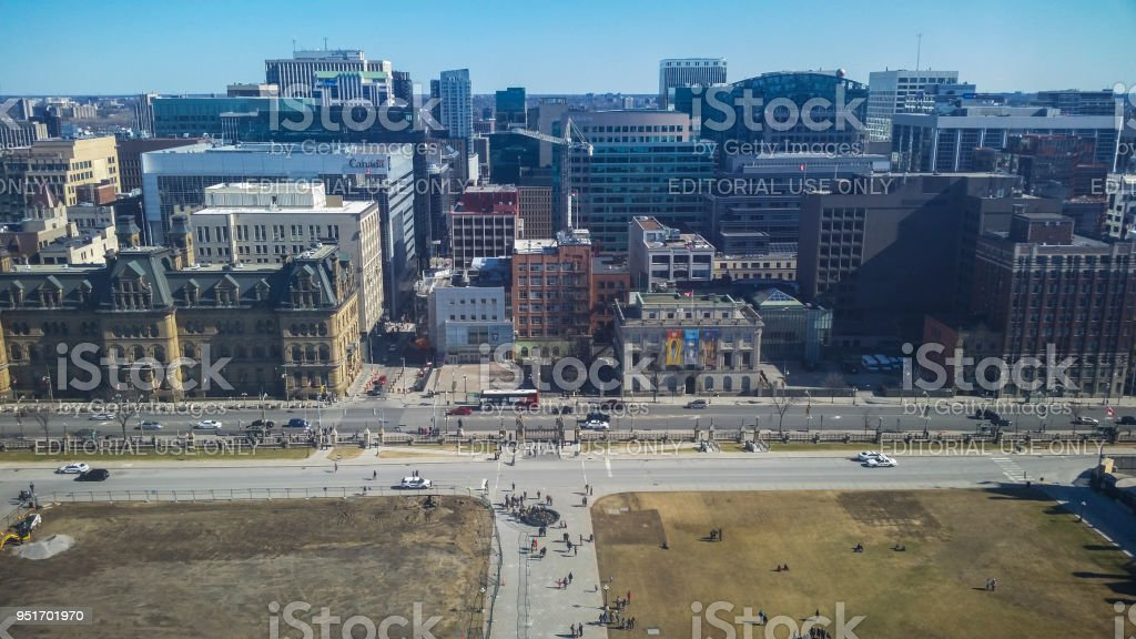 Aerial view by the Canadian Parliament stock photo