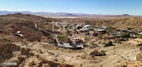 18 october 2018, Yermo, California. USA: View at the main street in the Calico ghost town in the desert of California very close to Nevada. Calico is an old west mining touristic village that has been around since 1881. Image taken during daytime.