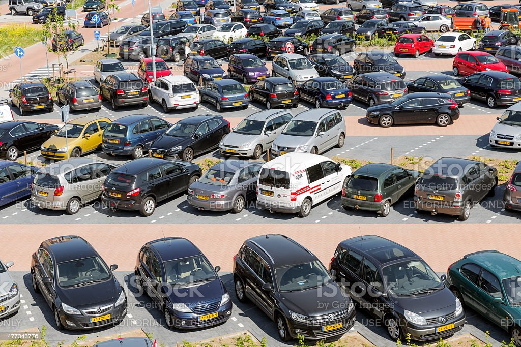 Aerial view car park Isala Hospital in Zwolle, The Netherlands stock photo