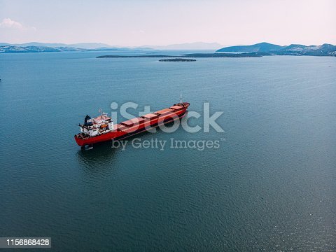 istock Aerial View Cargo Ship 1156868428