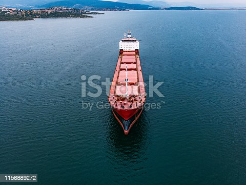 istock Aerial View Cargo Ship 1156889272