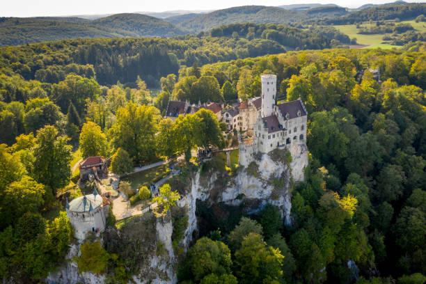 Aerial View Castle Lichtenstein Schloss Lichtenstein Swabian Alb stock photo