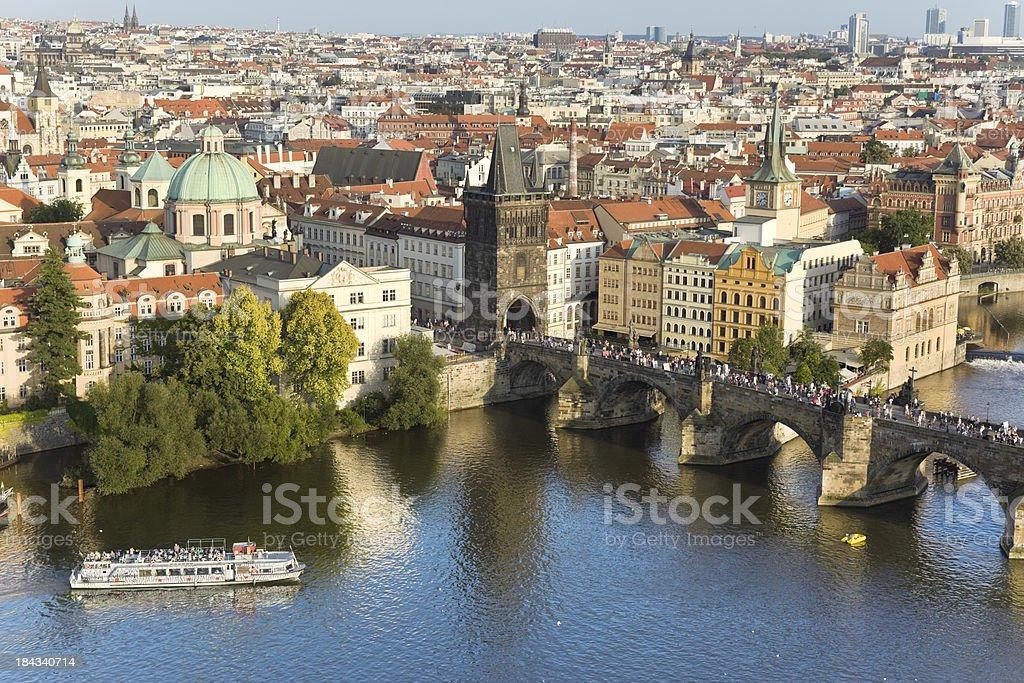 Aerial view Charles bridge Prague Czech Republic with Vltava River royalty-free stock photo