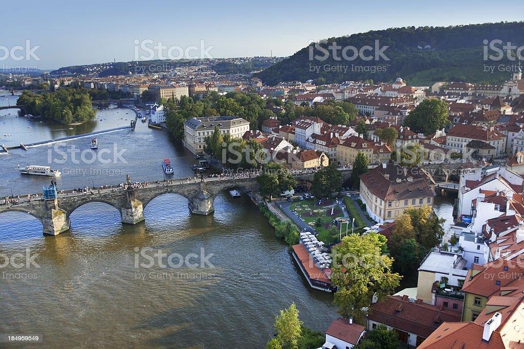 Aerial view Charles Bridge Prague royalty-free stock photo