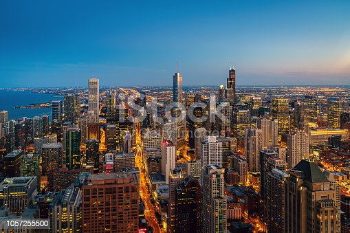 Aerial view of beautiful illuminated Chicago Cityscape at Night - Twilight. Chicago, Illinois, USA