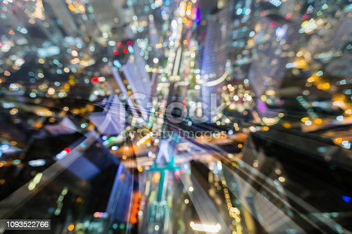 Aerial view city blur light double espouse train blur motion, abstract background