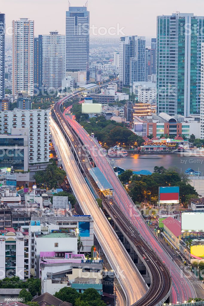 Aerial view, city bridged royalty-free stock photo