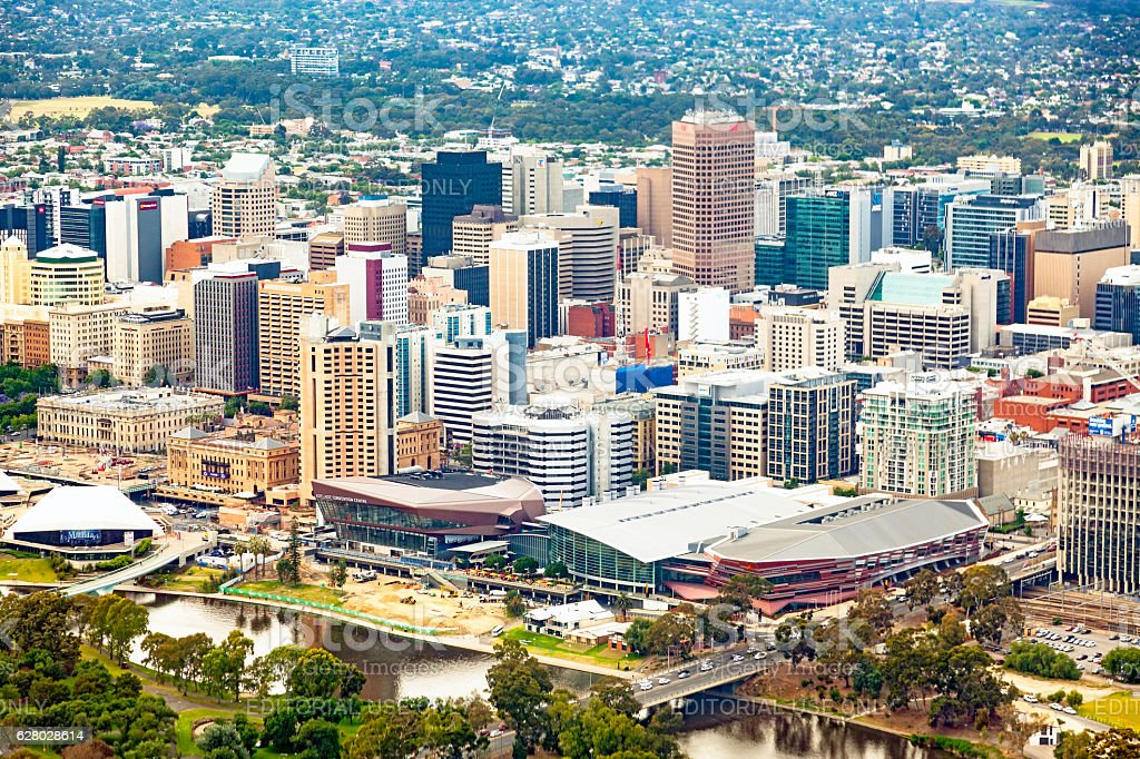 Aerial view City of Adelaide CBD, Torrens River stock photo
