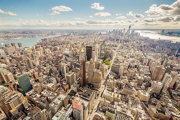 Vista aérea da paisagem urbana de Manhattan, Nova York, EUA - foto de acervo
