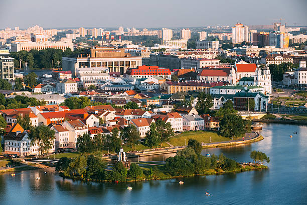 Vue aérienne de cityscape de Minsk, Bélarus - Photo