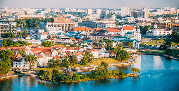 Aerial View, Cityscape Of Minsk, Belarus. Summer Season, Sunset. stock photo