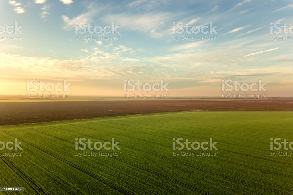 Aerial view Clouds over over green agricultural fields. stock photo