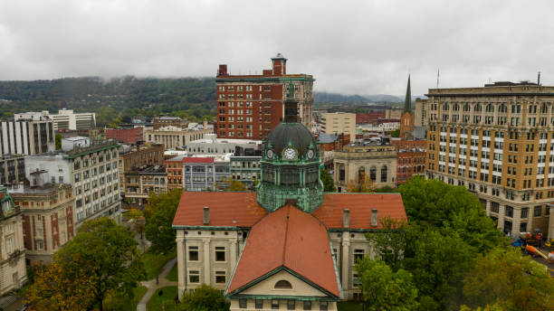 Aerial View Cloudy Overcast Day Downtown Urban Core Binghamton New York stock photo