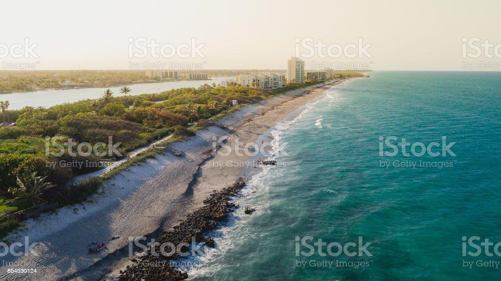 Aerial View Coast at Coral Cove Jupiter stock photo