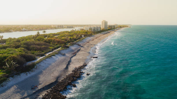 Aerial View Coast at Coral Cove Jupiter stock photo