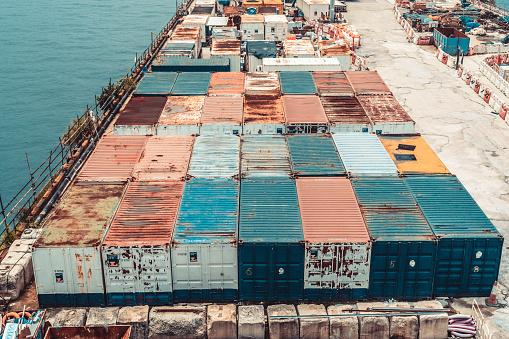 Aerial view colorful cargo containers yard