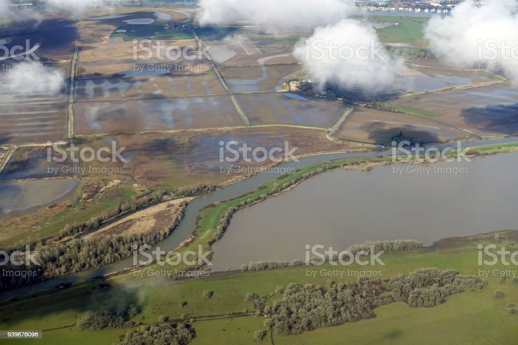 Aerial View Columbia River stock photo