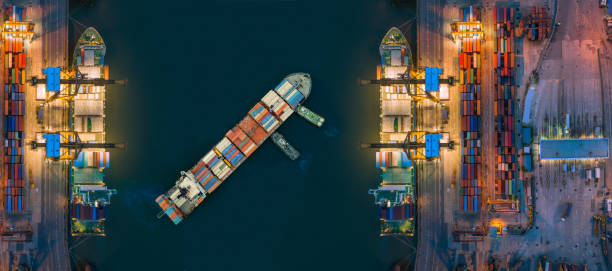 aerial view container ship from sea port working for delivery containers shipment. suitable use for transport or import export to global logistics concept. - бухта стоковые фото и изображения