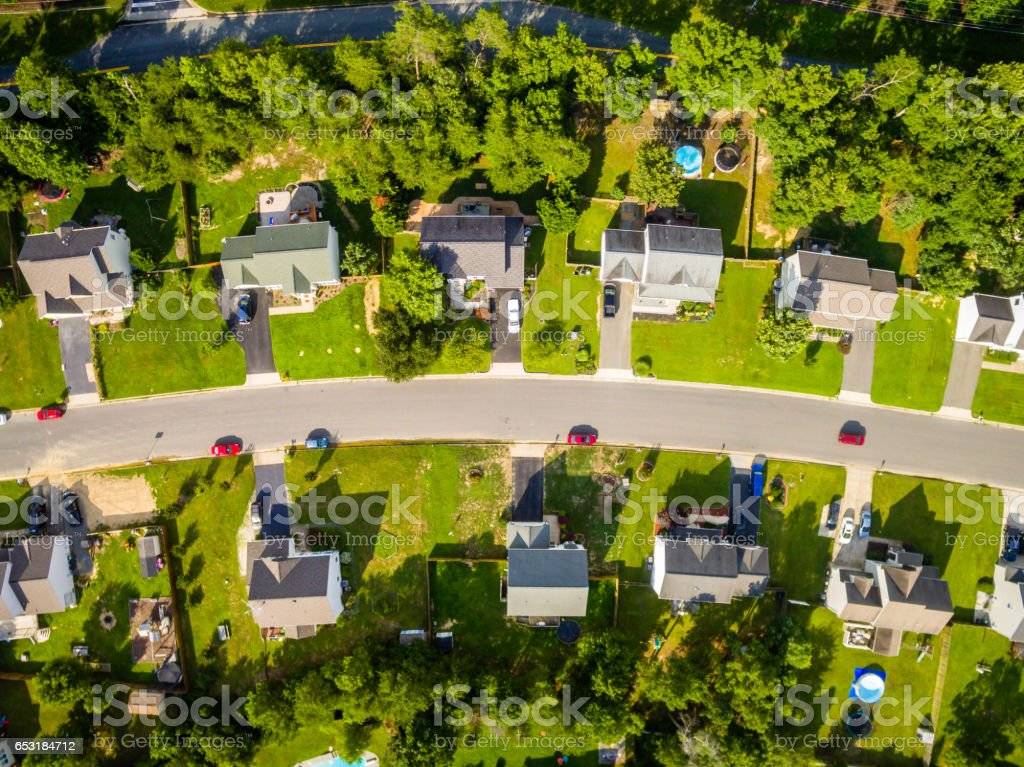 Aerial View Cookie Cutter Neighborhood royalty-free stock photo
