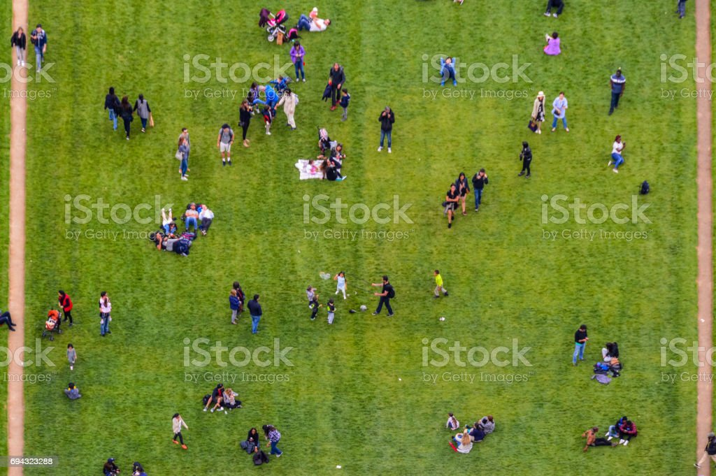 Aerial view crowd of people in park stock photo