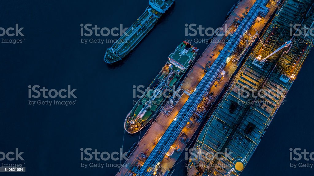 Aerial view Crude oil tanker royalty-free stock photo