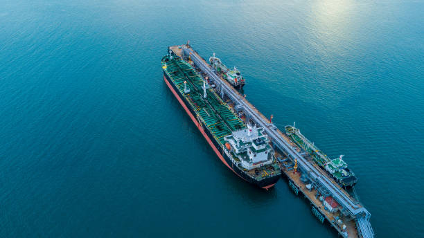 Aerial view Crude oil tanker stock photo