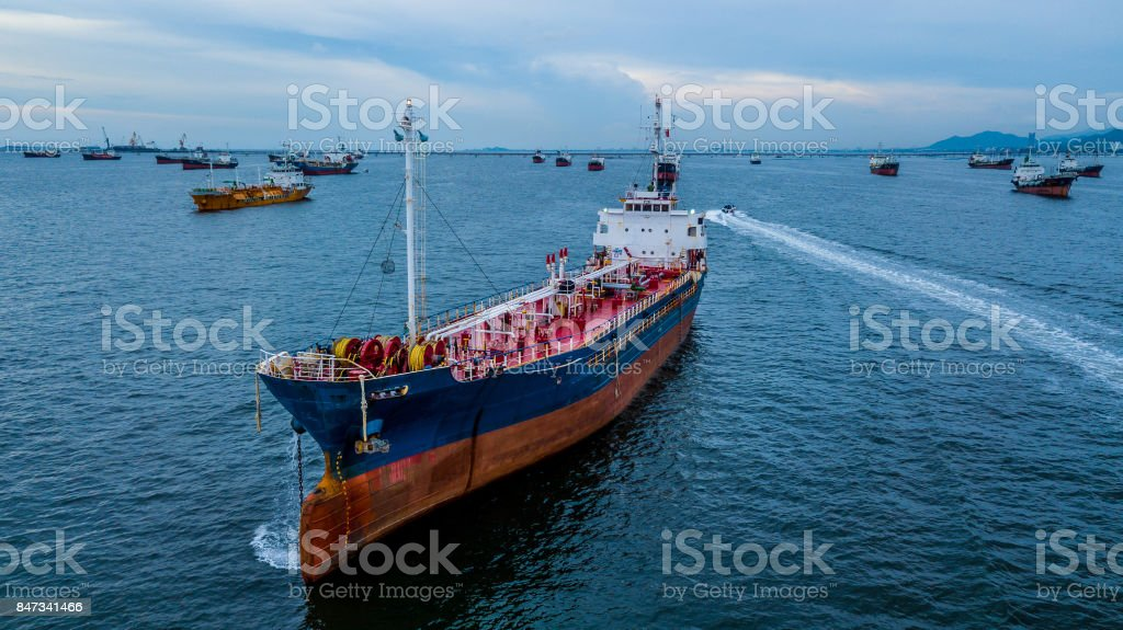 Aerial View Crude Oil Tanker Stock Photo - Download Image