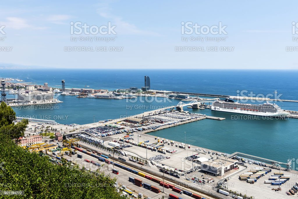 Aerial view Cruise ship in Port Vell, Barcelona stock photo