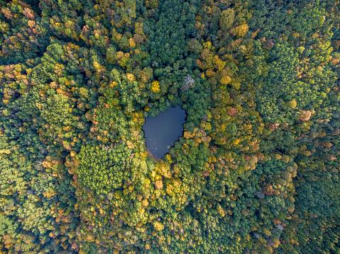 Aerial view. Dark Lake, Krasnodar region, Russia.