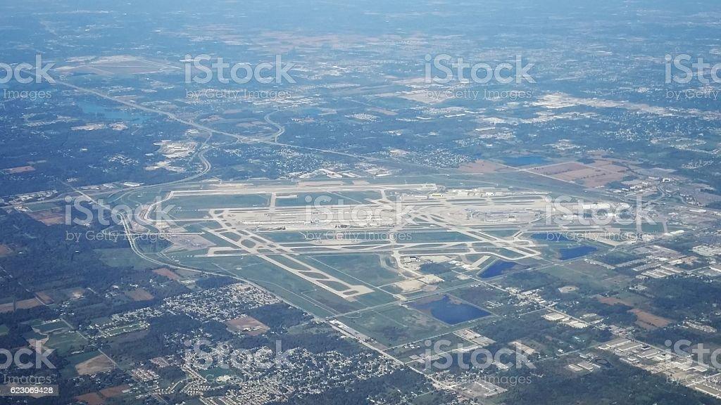 Aerial View Detroit Airport, Michigan stock photo