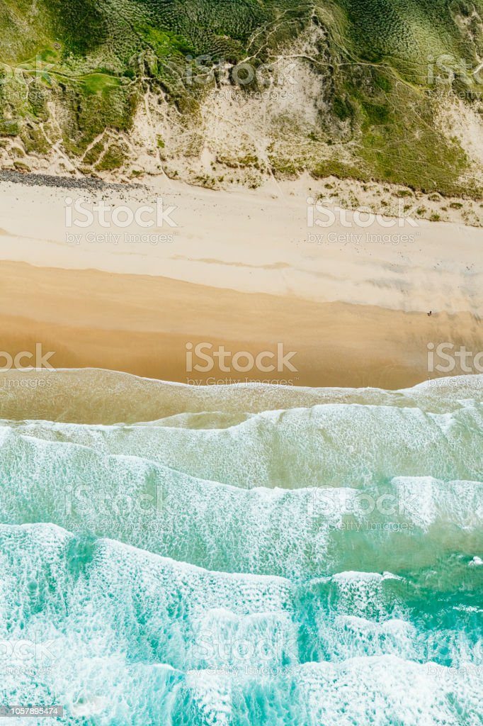 Aerial view directly above Perranporth Beach, Newquay, Cornwall stock photo