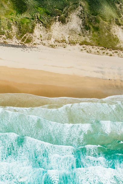 aerial view directly above perranporth beach, newquay, cornwall - cornwall stock pictures, royalty-free photos & images