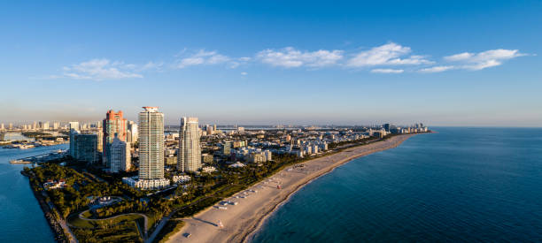 Aerial view down South Beach from above South Point stock photo
