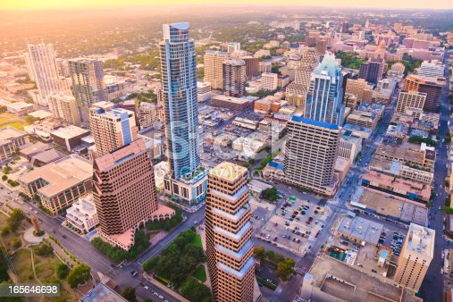 istock Aerial view, downtown Austin Texas skyline, sunset, from helicopter 165646698