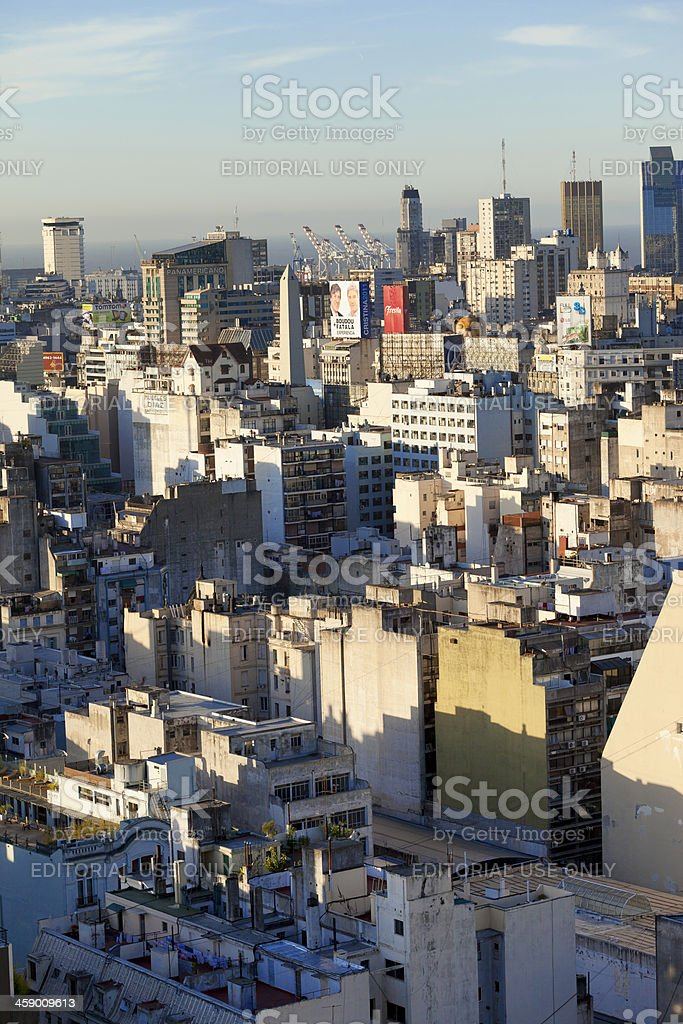 Aerial View Downtown Buenos Aires Argentina with Obelisco royalty-free stock photo