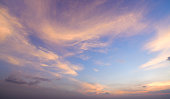 Aerial view dramatic sunset and sunrise sky nature background with white clouds for design concept and isolated text