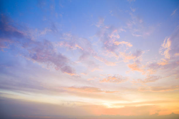 Aerial view dramatic sunset and sunrise sky nature background with white clouds stock photo