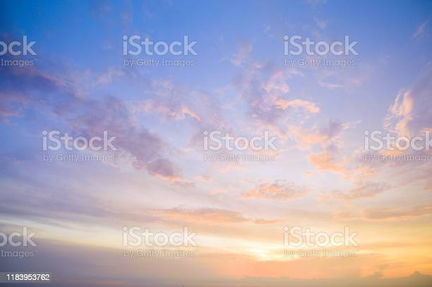 Photo of Aerial view dramatic sunset and sunrise sky nature background with white clouds