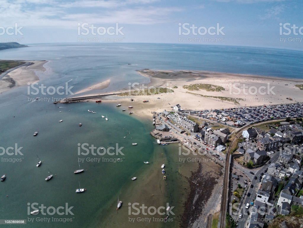 Aerial view, Drone panorama over sea, harbor, beach and old city of Barmouth, Wales stock photo