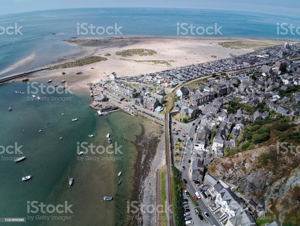 Aerial view, Drone panorama over sea, harbor, beach and old town of Barmouth, Wales stock photo