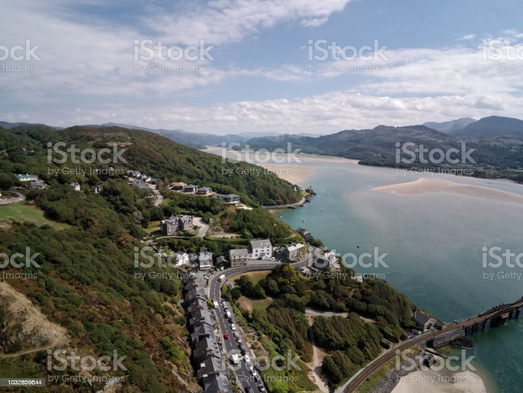 Aerial view, Drone panorama over sea, tree, hills and houses, Barmouth, Wales stock photo