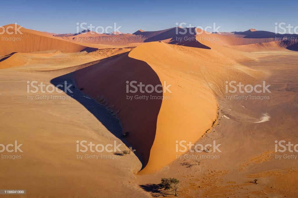 Aerial View Dune 45 Nambia Sea Of Sand Dunes Sossusvlei Stock Photo Download Image Now