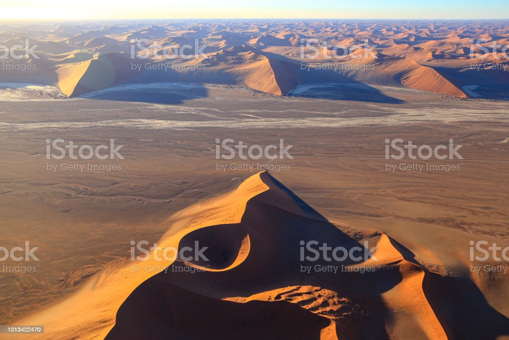 Aerial View Dune 45 Sossusvlei Desert Sand Dunes Stock Photo