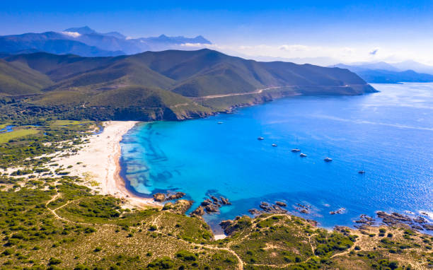 Aerial view east coast of Corsica stock photo