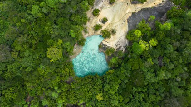 Aerial view emerald pool,  Blue Pool tourist destination in Krabi, Krabi, Thailand stock photo