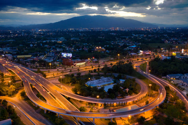 Aerial view Express way in Chiangmai, Thailand. stock photo