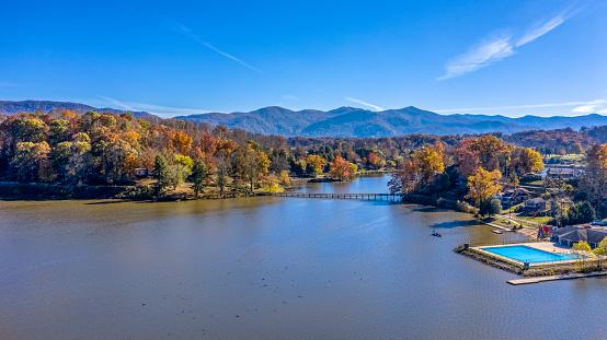 Aerial view Fall Landscape in Lake Junaluska, North Carolina