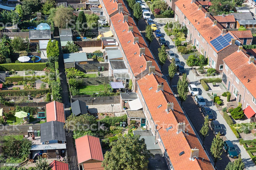 Aerial view family houses with backyards in Emmeloord, The Netherlands stock photo