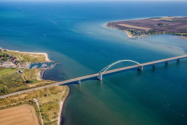 Aerial View Fehmarn Sund Bridge stock photo