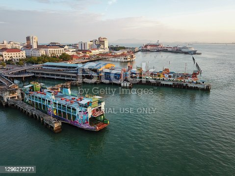 Georgetown, Penang/Malaysia - Feb 28 2020: Aerial view ferry terminal with background Pier Swettenham.